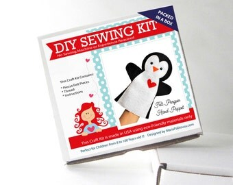 Penguin Puppet Sewing Kit, Felt Hand-Sewing Kit with PreCut Felt, Craft Felt Sewing Kit, Kid Sewing Kit, READY TO SHIP A1198
