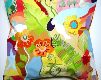 Floral Ferns & White Dove Pillow 17x17 Hand Painted Original Art Collage Colorful Abstract Whimsical Shapes Decorative Pillow Decor