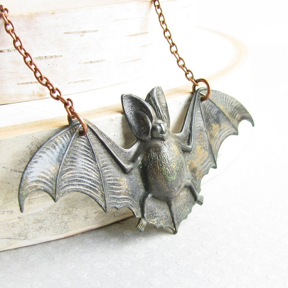 Black Bat Necklace - Aged Patina Bat Pendant Necklace with Antiqued Copper Plated Chain, Vampire Bat, Rustic Halloween Jewelry, Goth Jewelry