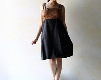 Linen dress, Mini dress, Black dress, Short dress, Sleeveless dress, tunic dress, linen tunic, empire dress, ethnic dress, women boho dress
