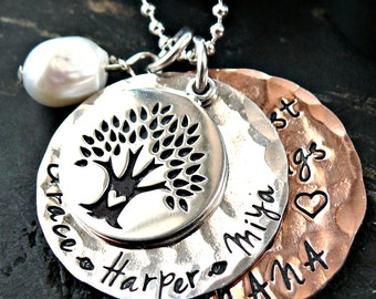 Hammered Layered Personalized Tree Necklace -  Personalized Mothers Tree Necklace - Hand Stamped Tree Necklace - Grandmother Tree Necklace