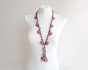 Crochet necklace, Beaded Crochet Necklace, bead work, oya necklace