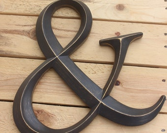 DARK BROWN AMPERSAND Letter & Sign And Initial Home Room Decor Diy Handpainted Vintage Style Monogram Rustic Wedding Custom Gold Silver Etc