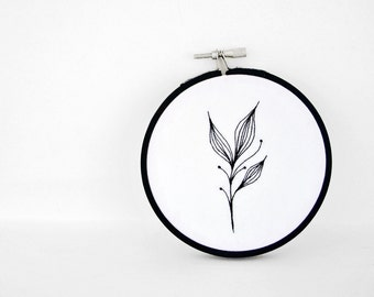 Black and White Art, Hand Embroidery Hoop Art, 4 inch Embroidery Hoop Fiber Art of Hand-Drawn Botanical Leaf Design