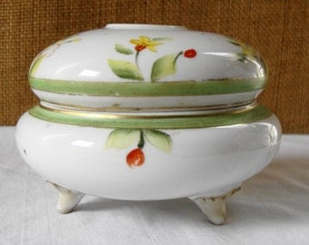 ANTIQUE NIPPON TWO Piece Porcelain Hair Receiver Victorian Dresser Bowl Fine China Moriage Nippon Boudoir Dressing Table Beauty Vanity China