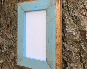 8x10 Picture Frame, Baby Blue Rustic Weathered Style With Routed Edges