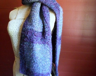 The Indigo Gypsy Scarf . Handmade Bohemian Rustic Block Crochet Folk Bohemian Gypsy Hand Crocheted Homespun Panel Scarf ooak