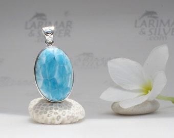 Larimar pendant, Seal of the Dragon - sky blue Larimar oval, turquoise blue, turtleback, scaly, AAA larimar, topaz blue, handcrafted pendant