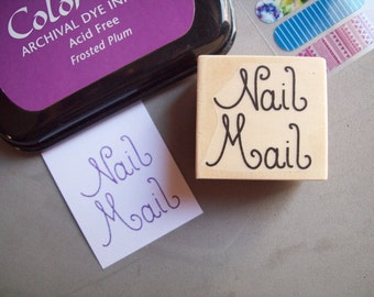 Nail Mail Rubber Stamp Hand Lettered