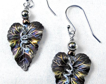 Bronze Leaf and Silver Tendril Earrings