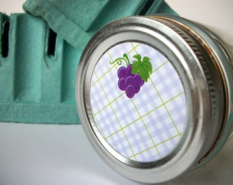 Plaid Grape canning jar labels, round purple mason jar stickers for fruit preservation, cottage chic preserves jam and jelly jar labels