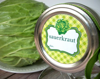Sauerkraut canning jar labels, 2 inch round plaid stickers for regular and wide mouth jars, for food preservation, cabbage, vegetable