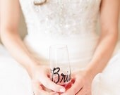Personalized Stemless Champagne Flutes, PLASTIC Wedding Calligraphy for Bachelorette Party, Wedding, Shower, New Years or Anniversary