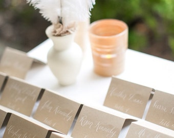 Wedding Name Place Cards, Escort Cards, Shabby Chic, Table Cards, Kraft Paper Tented Cards, Hand Calligraphy Featured on Style Me Pretty