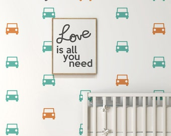 Car Wall Decal with Wallpaper / Wall Stencil Effect . Car Nursery Decor . Baby Nursery Wall Decal . Car Wall Decals - LSWP-AP0026TF