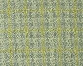 Gray Yellow, 1980s Vintage, Boucle Plaid Suiting, Wide Double Knit Fabric, Gray Yellow, Medium Weight Polyester, half yard, B31
