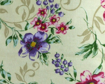 Quilting Flannel Print Fabric, Blank Textiles, Floral, Purple and Pink Flowers on Cream, half yard, 4-oz, B4