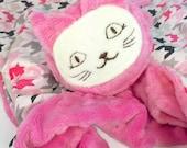 Medium Security Blanket, Pink with Houndstooth Cat, Kitty Stuffed Animal, Kitty Blanket, Baby Toy, Teething Blanket, Sensory Blankie, Plush