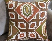 Abstract Throw Pillow, Boho Couch Pillow, Southwestern Decor, Abstract Pillow Cover, Brown and Orange Pillow, Unique Accent Pillow