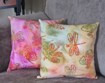 Batik Dragonfly Pillow, Dragonfly Pillow Cover, Designer Pillow, Small Batik Pillow, Couch Pillow, Cottage Home Decor, Pillow with Dragonfly