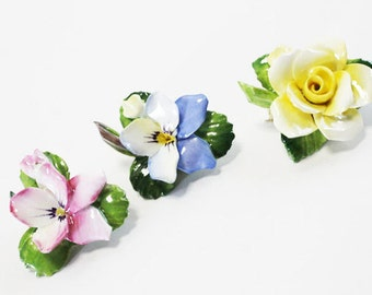 Vintage Porcelain Flower Brooch, Pin - Made in England. Yellow Rose, Pink or Blue Pansy, Bone China, Hand Painted
