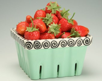 Ceramic Berry Basket, Retro Mint Green Berry Basket with Black and White Hand Painted Design, Ceramic Strawberry Basket