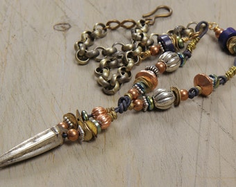 My point exactly necklace: copper, silver, brass, lapis, leather, chain
