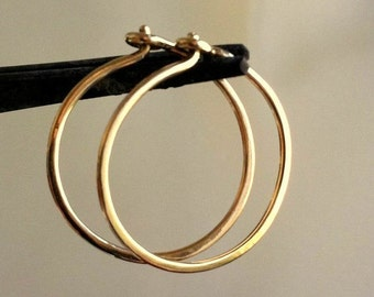 Gold Hoop Earrings, Classic Hoops, Hoop Earrings, Optional Sizes, Dainty Hoops, Gold Creoles, Handmade Hoop Earrings