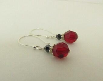 Swarovski Crystal Earrings, Sterling Silver Earrings, Handmade Earrings, Wire Wrapped Earrings