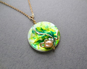 Green Spring Pendant painted by hand, spring jewellery, pearl jewellery, sale jewelry