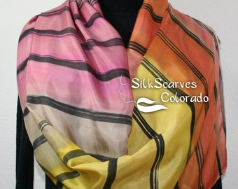 Coral Yellow Silk Scarf Handpainted. Orange Taupe Hand Painted Silk Wrap AUTUMN RAINBOW, in 2 SIZES. Silk Scarves Colorado. Elegant Gift