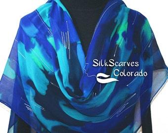 Silk Scarf Blue, Teal, Turquoise Hand Painted Chiffon Silk Shawl OCEAN BLUES. Luxurious Big 22x90. Silk Scarves Colorado. Birthday Gift