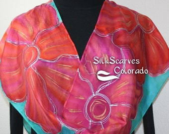 Hand Painted Silk Scarf. Pink, Teal, Orange Handmade Silk Shawl, SPRING MEMORIES 2. Size11x60 Mother Gift Bridesmaid Gift Free Gift-Wrapping