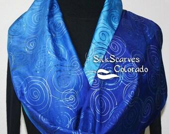Silk Scarf Blue Turquoise Hand Painted Silk Shawl SAPPHIRE SPIRALS by Silk Scarves Colorado. Two SIZES. Elegant Silk Gift. Birthday Gift