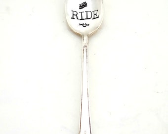 RISE and RIDE teaspoon. The ORIGINAL Hand Stamped Vintage Coffee & Espresso Spoons™ Unique gift for equestrian,  ironman, biker, athlete.