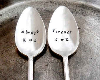 CUSTOM Stamped Spoons Personalized with Initials. Custom Gift for Bride and Groom Always, Forever. The Original Hand Stamped Vintage Spoons™