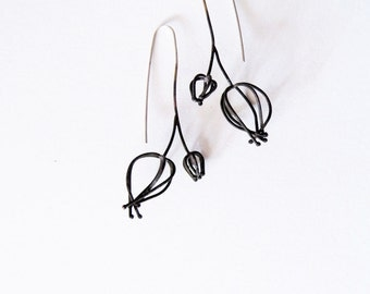 Abstracted Physalis formed earrings, wireframed physalis earrings