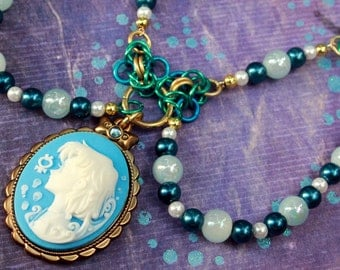Sailor Mercury Cameo beaded chainmail and ribbon necklace