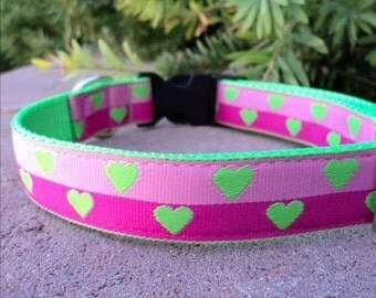 """Sale Dog Collar Lime Hearts 1"""" wide side release buckle adjustable / martingale style is cost upgrade"""