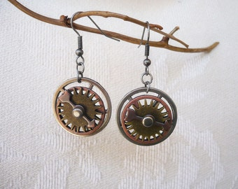 Brass Gear Spinner with Copper and Silver Rim Earrings