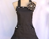 Women's Flirty Apron, Black and White Polka a dot Print, Flared Skirt, Removable Handmade Flower Pin, Hair Clip
