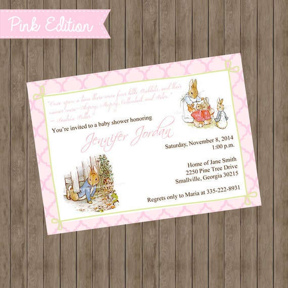 Beatrix Potter Peter Rabbit Invitations Pink Edition