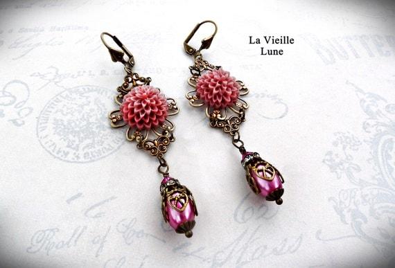 Heirloom Pink Filigree Flower Earrings, Victorian Earrings in Antique Brass