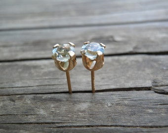 Aquamarine 4 mm Stud Earrings, March Birthstone Sterling Silver, Blue Post Earrings, Vintage Style, Winter Fashion