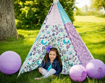 READY TO SHIP! - Child Toddler Kid's Play Teepee/Tent Hideaway in Mod Floral Poetica In Sea Foam Lavender Purple Turquoise Teal