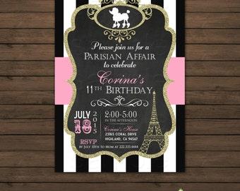 Paris Birthday Invitation Printable File, DIY, Pink, Polka Dots, Eiffel Tower, Poodle, Chalkboard Invitation, Black and White