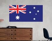 Australia Flag Wall Decal Printed Fabric Peel and Stick Wall Cling - Australian Flag Wall Art WAL-2241