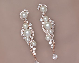 Pearl Bridal Earrings, Rose Gold Earrings, Chandelier Wedding Earrings, TILLY RG