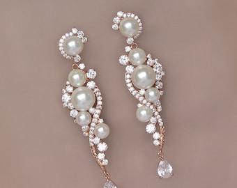 Rose Gold Chandelier Earrings, Long Pearl Wedding Earrings, Crystal & Pearl Bridal Earrings, Bridal Chandelier Earrings, TILLY Rose Gold