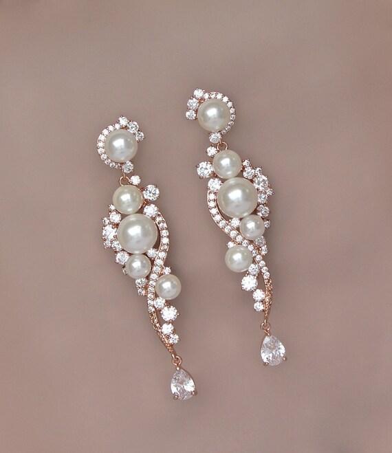 Rose Gold Earrings Chandelier Wedding Earrings Long Pearl